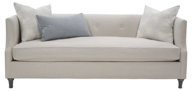 "Dumont 84"" Tight-Back Sofa, Ivory"