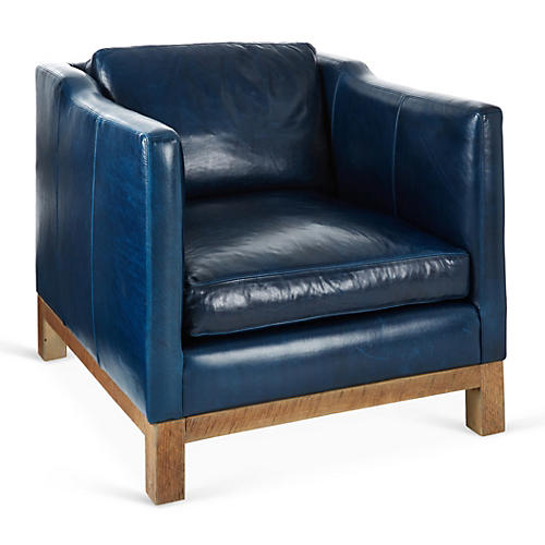 Cara Club Chair, Blue Leather
