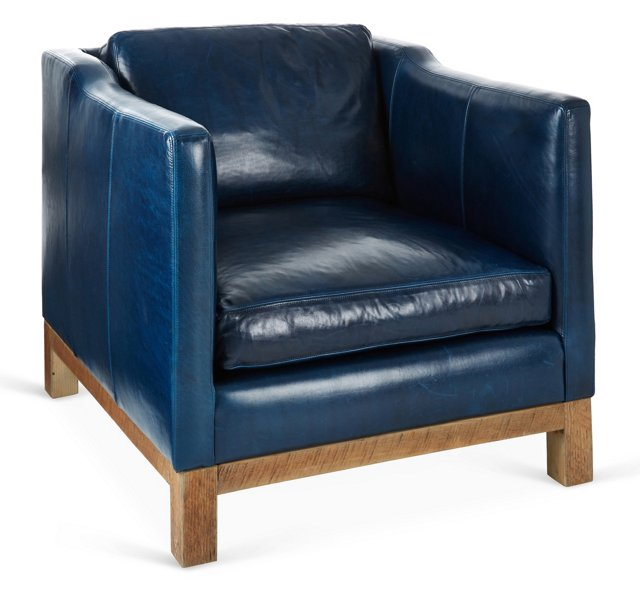 Cara Club Chair, Navy Leather