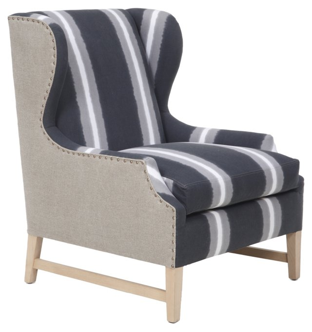 Candace Striped Wing Chair, Charcoal