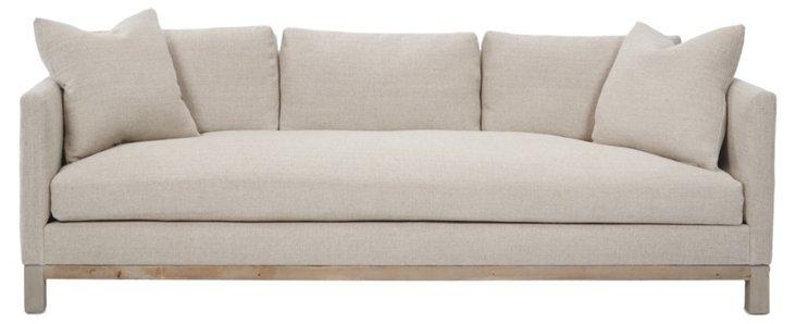 """Cara 90"""" Linen Sofa, Oatmeal"""