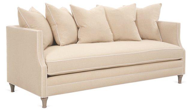 """Dumont 85"""" Linen Sofa, Beige"""
