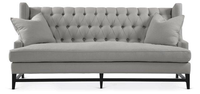 "Eaton 86"" Tufted Linen Sofa, Gray"