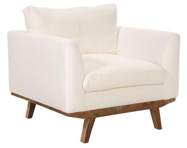 Carmel Club Chair, Ivory Linen