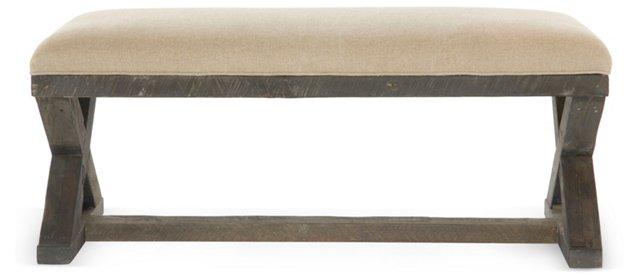 "X-Base 50"" Burlap Linen Bench, Natural"