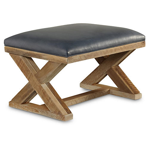 Cass X-Base Ottoman, Navy Leather