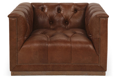 Jackson Tufted Leather Chair, Brown