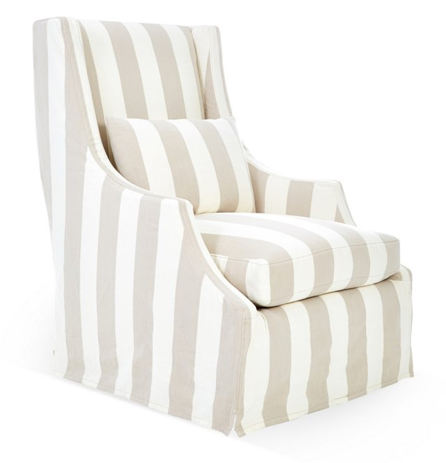 Hoxie Slipcovered Chair, Beige