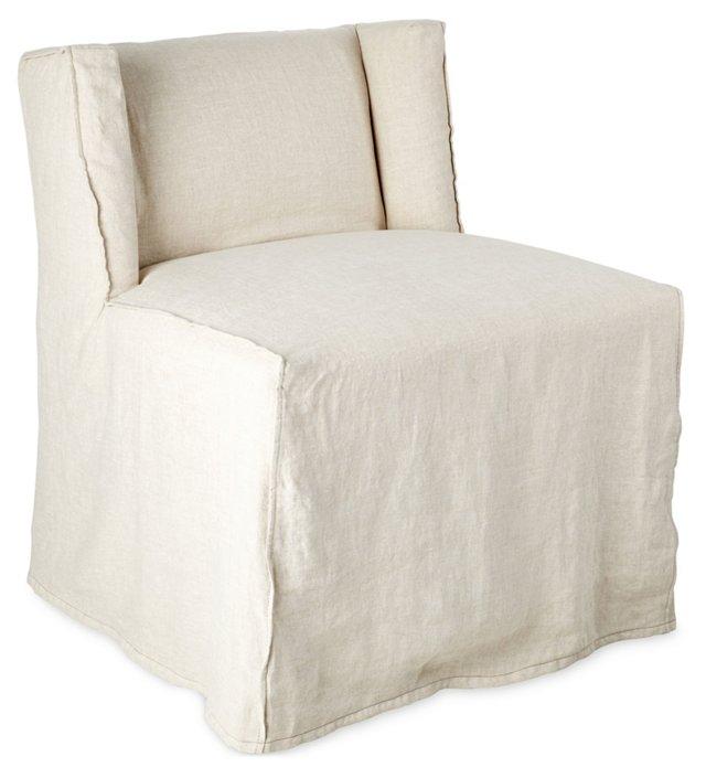 Campbell Linen Slipcover Side Chair, Oat