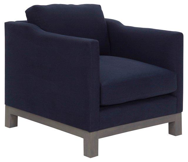 Cara Club Chair, Indigo Linen