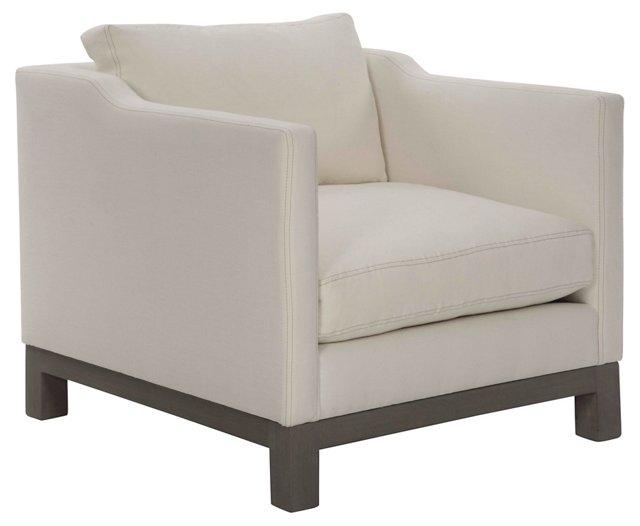 Cara Club Chair, White Linen