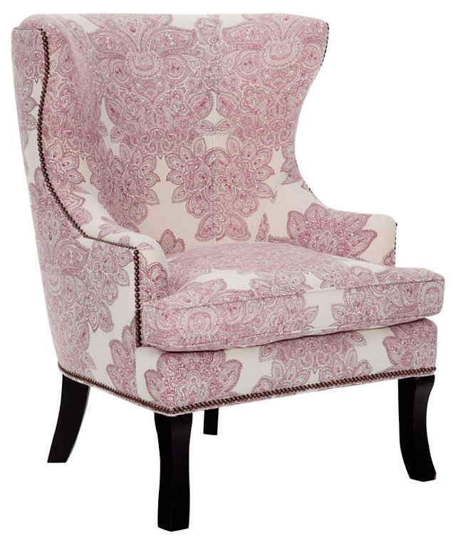 Thomas Wingback Chair, Pink/Wine
