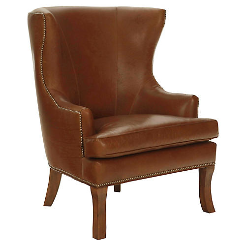 Thomas Wingback Chair, Tobacco Leather
