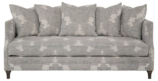 "Dumont 85"" Linen Sofa, Blue/Yellow Maris"