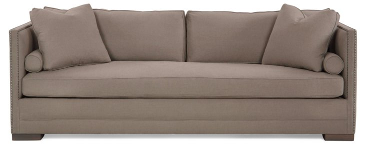 """Oliver 94"""" Tailored Linen Sofa, Taupe"""