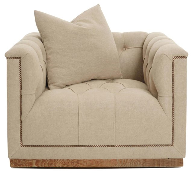 Jackson Tufted Linen Chair, Natural