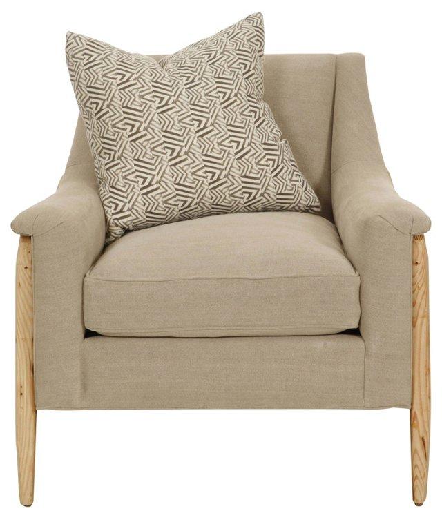 Natalie Linen Wing Chair, Natural