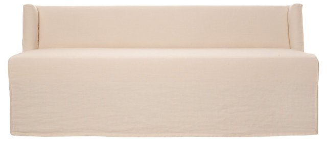 Campbell Linen Dining Bench, Ivory