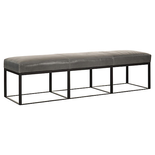 "Hardin 72"" Bench, Storm Gray Leather"