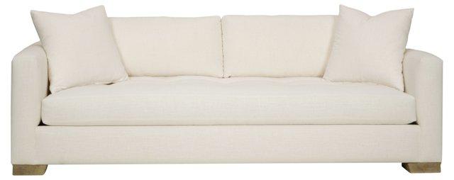 "Betsy 84"" Tufted Linen Sofa, White"