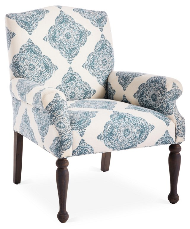 Tara Linen Accent Chair, Blue/White