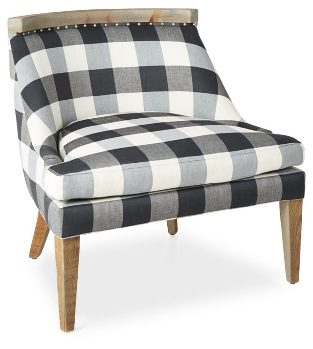 Sarah Accent Chair, Dark Gray Gingham