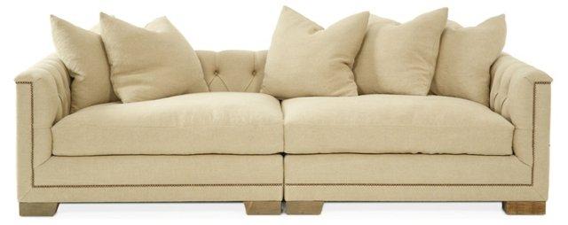 "Jackson 100"" Tufted Linen Sofa, Beige"
