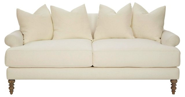 """Elizabeth 87"""" Linen Sofa, Ecru"""