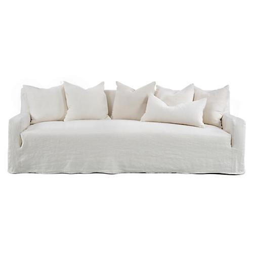 """Emery 99"""" Slipcover Sofa, Ivory Linen"""