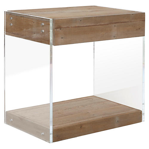 Booker Lucite Nightstand, Natural