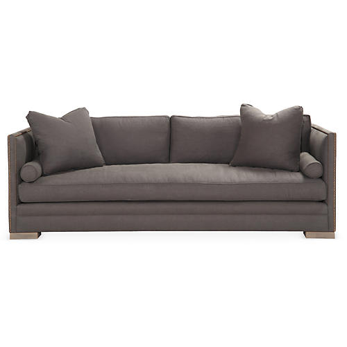 Oliver Small Tailored Sofa, Charcoal Linen