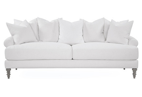 "Elizabeth 87"" Linen Sofa, White"