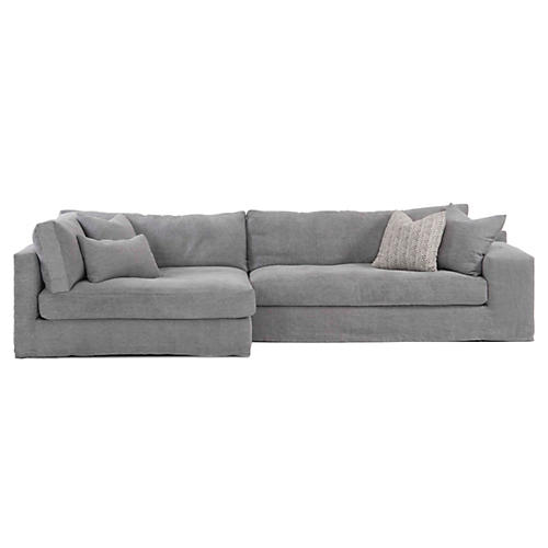 Bradley Sectional, Gray Linen