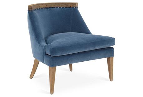 Sarah Chair, Harbor Blue Velvet