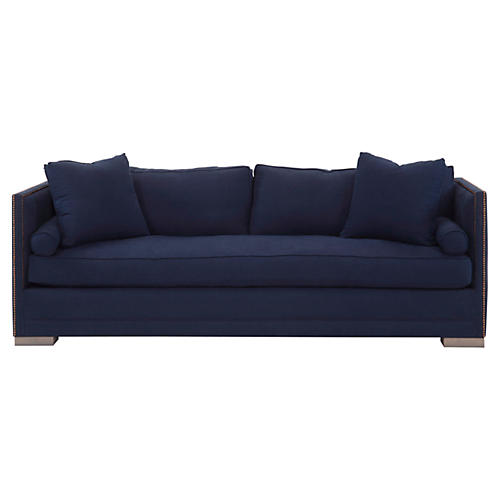 Oliver Small Tailored Sofa, Indigo Linen