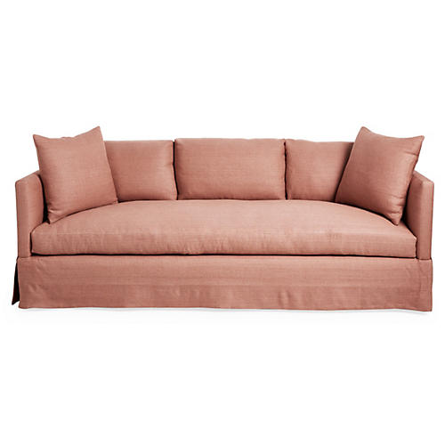 "Cara 84"" Skirted Sofa, Rose Linen"