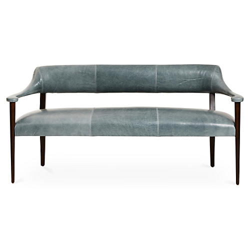 Carrie Bench, Storm Gray/Espresso Leather