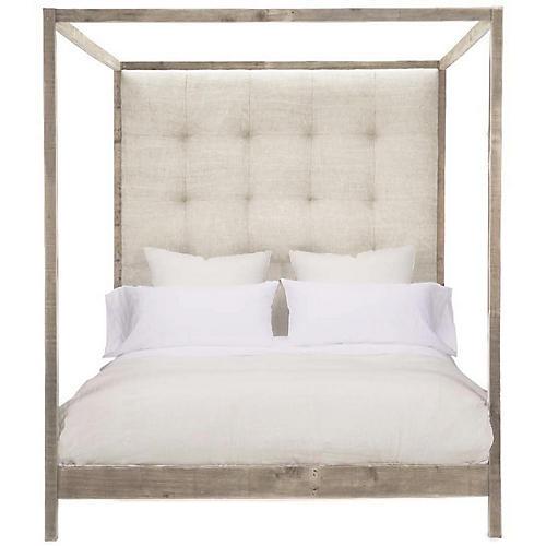 Strugess Tufted Canopy Bed, Dune Linen