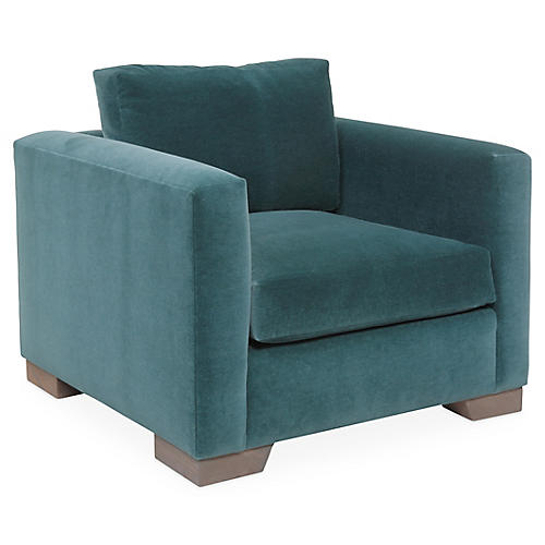 Aldous Club Chair, Teal Velvet