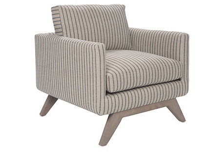 Ames Accent Chair, Oatmeal Stripe