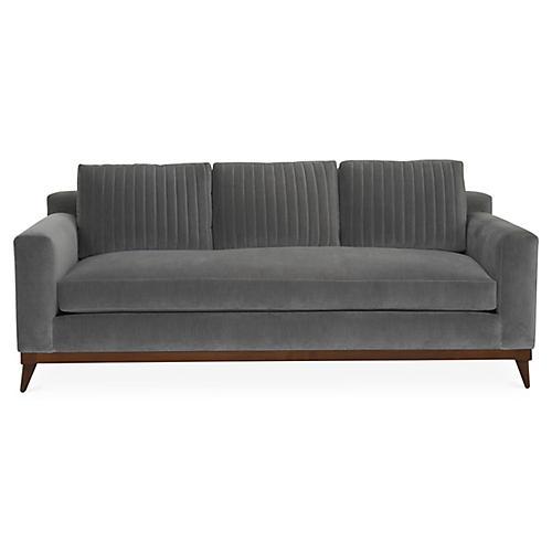 """Peyton 88"""" Sofa, Gray Velvet"""