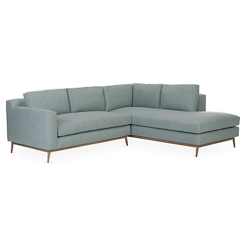 "Peyton 102"" Sectional, Mint Green Linen"