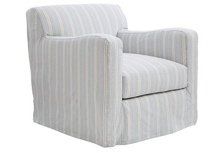 Presley Slipcovered Chair, Blue Stripe