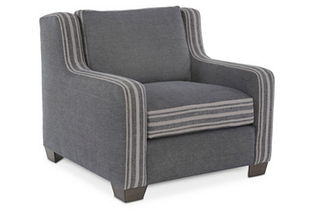 Shelby Club Chair, Navy Chambray