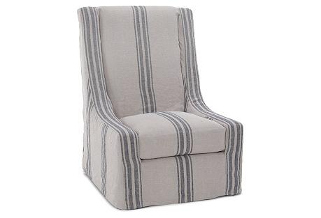 Shelby Swivel Side Chair,  Navy Stripe