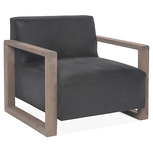 Burk Club Chair, Charcoal Leather
