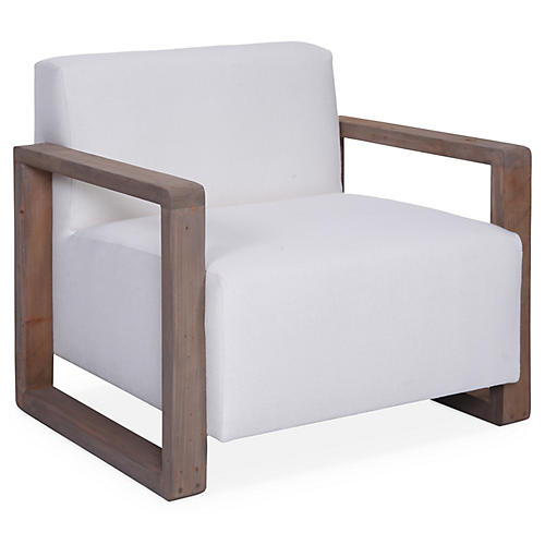 Burk Club Chair, Ivory Linen
