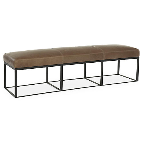 "Hardin 72"" Bench, Tan Leather"