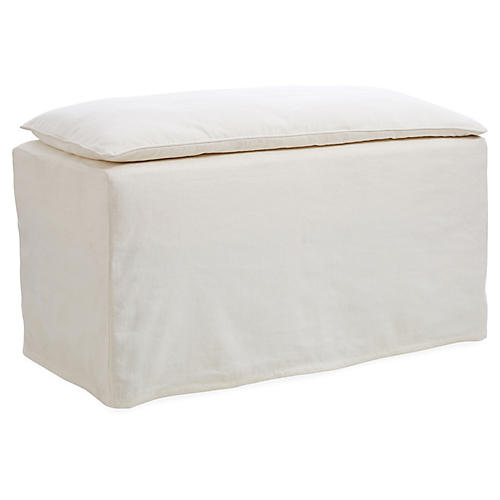 """Pacifica 38"""" Slipcovered Bench, Ivory"""