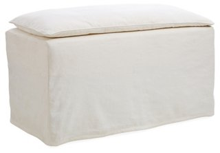 "Pacifica 38"" Slipcovered Bench, Ivory"